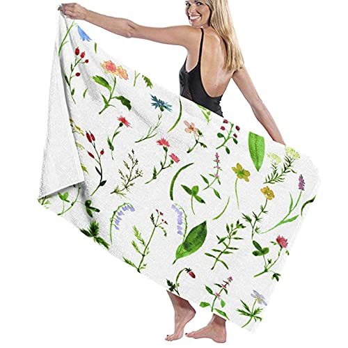 Spetlye Large Microfiber Toalla de baño Blanket,Watercolor Drawing Herbs and Flowers,Bath Sheet Beach Towel for Family Hotel Travel Swimming Sports,52' x 32'