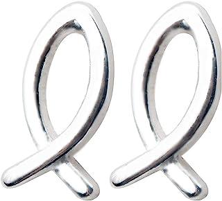 Dtja Cute Fish Christian Sterling Silver Tiny Stud Earrings for Women Teen Girls Hypoallergenic Minimalist Ichthus