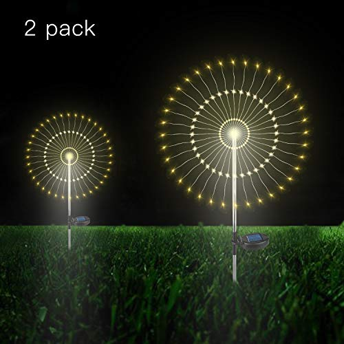 Outdoor Solar Garden Decorative Lights- 105 LED Powered 35 Copper Wires String Landscape Light-DIY Flowers Fireworks Trees for Walkway Patio Lawn Backyard,Party Decor 2 Pack (Warm-Color)