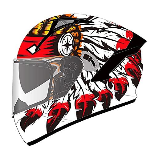 HZIH Casco Integral de Moto Estilo Retro,Adultos Casco Moto Casco Integral,Motocicleta Casco Protector con Doble Visera Cara Completa Casco,ECE Homologado A,XL=60~61cm