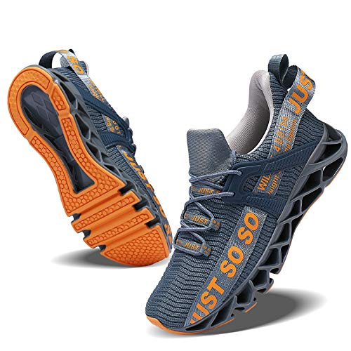 JSLEAP Herren Laufschuhe Turnschuhe Sportschuhe Straßenlaufschuhe Sneaker Atmungsaktiv Trainer für Running Fitness Gym Outdoor Leichte (2-Dunkelgrau,43 EU)