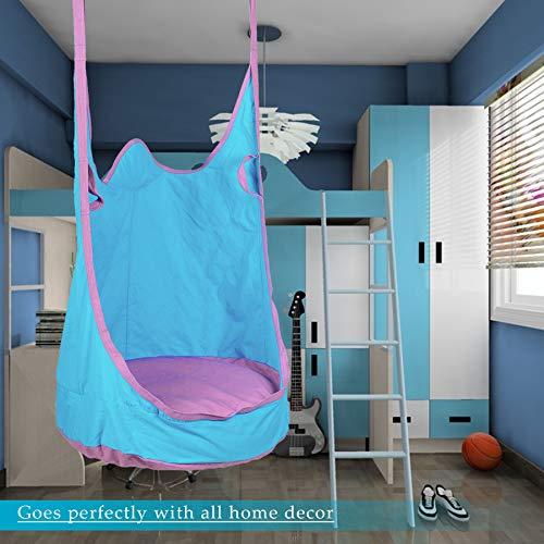 CO-Z Columpio Colgante para Niños Hamaca para Uso en Interiores y Exteriores Hamaca para Camping al Aire Libre Swing Seat Capacidad de 80kg Azul
