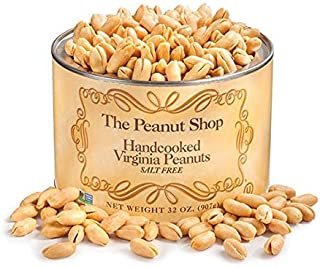 The Peanut Shop of Williamsburg Salt Free Handcooked Virginia Peanuts, 32-Ounce Tin