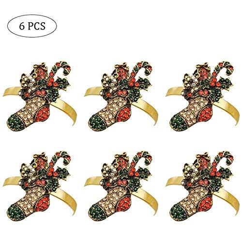 Peedeu - Portatovaglioli natalizi, albero di Natale, calze, caramelle, campane, renne, cigno, granchio di cristallo e aragosta con diamante, per decorare la tavola del Ringraziamento (set da 6)