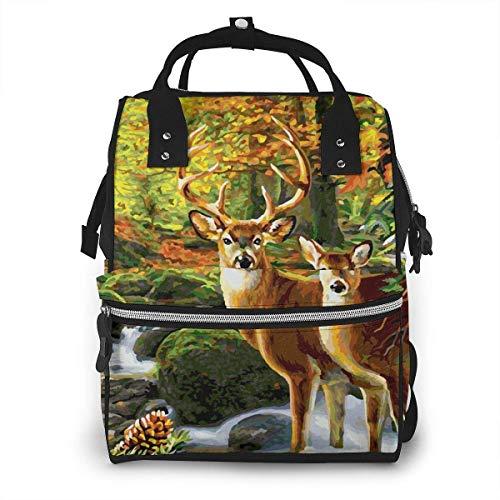 Reh im Wald Wickeltasche, modisch, wasserdicht, multifunktional, Reiserucksack, große Windeltaschen, Mumien-Rucksack für Babypflege