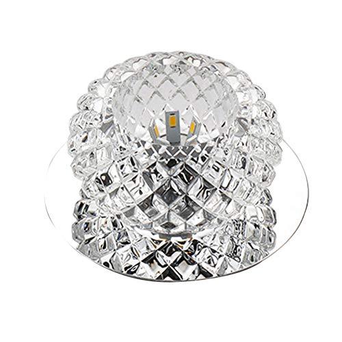 Uonlytech - Lámpara de techo redonda de cristal, LED, 110-220 V, 5 W, para salón, dormitorio (luz cálida)