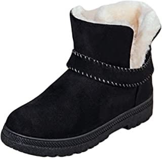 Inlefen Female Winter Keep Warm Rubber Sole Short Ankle-Wrap Snow Boots