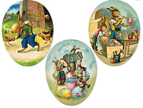 "Decorative Easter Eggs for Easter Baskets Easter Egg Hunt Easter Gifts Paper Mache Eggs 4.5"" Set 3"