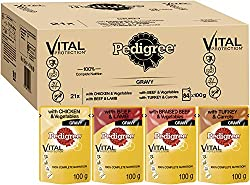 Pedigree Real Meals are the optimum meal for man's best friend, with healthy nutrients and a tasty gravy sauce / Good as a stand alone meal or combined with kibble Each pouch comes designed with an easy tear opening, packed full of delicious wet dog ...