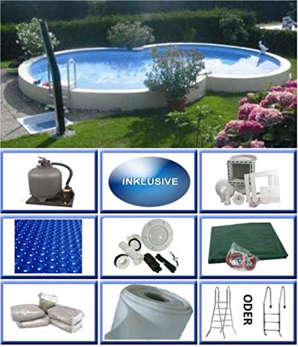 Summer Fun Stahlwandbecken Set Kreta Exklusiv achtform 4,60m x 7,25m x 1,50m Folie 0,6mm Ultra All Inklusive Set Pool Achtformpool / 460 x 725 x 150 cm Stahlwandpool