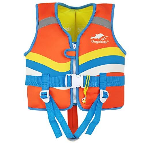 IvyH Chaleco de Natación Niño, Chaleco de Flotación Infantiles Nadar Entrenamiento Playa Yate Deportes Acuáticos Chaleco Flotante para Niño Niñas(Naranja L)