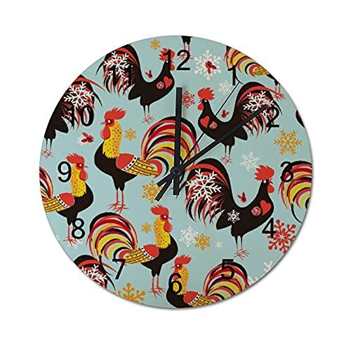 Reloj de Pared Vintage,Patrón Brillante con gallos,Relojes de Pared de Madera silenciosos Que no Hacen tictac,Reloj de Pared rústico de Granja para la decoración del Dormitorio de la Sala de Estar