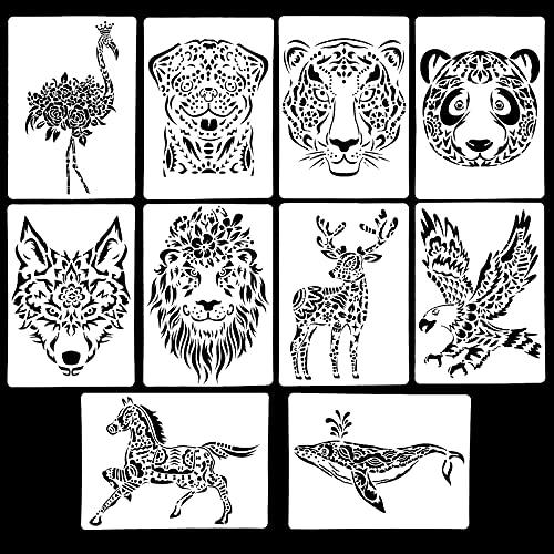 10 Stück Schablonen Set, Schablonen Tiere für Kinder, Kunststoff Zeichenschablonen Wiederverwendbare Zeichnung Malerei Vorlage für DIY Bastelprojekte Scrapbooking (A)
