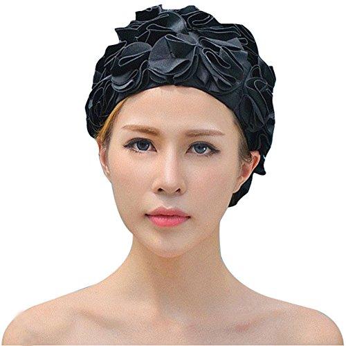 Gorro de bao Mujer Flor Fletion Vintage gorro de bao ptalo estilo bao Caps Swim caps, negro