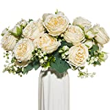 dycrazy 4 Bundles White Artificial Flowers Silk Peony Rose Wedding Vases for Home Decor Bride Bouquet Foam Accessories Crafts DIY Fake Plants