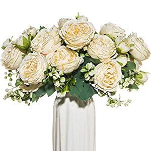 Silk Flower Arrangements dycrazy 4 Bundles White Artificial Flowers Silk Peony Rose Wedding Vases for Home Decor Bride Bouquet Foam Accessories Crafts DIY Fake Plants