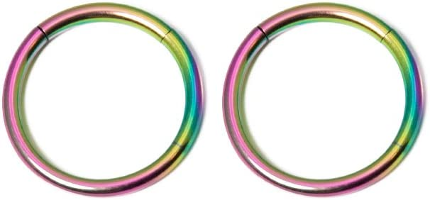 BodyJewelryOnline Sold in Pairs - 16ga-3/8(10mm) Seemless Segment Ring I.P. Coated 316L Surgical Steel Great for Nose, Ears, Septum, Eyebrow, Cartilage, Lip - 7 Colors to Choose from (Multi-Color)