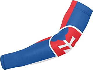 ZeTian H Men Women Slovakia Flag UV Protection Arm Sleeves Comfortable Compression Arm Cover Sleeves for All Sports Activities (1 Pair)
