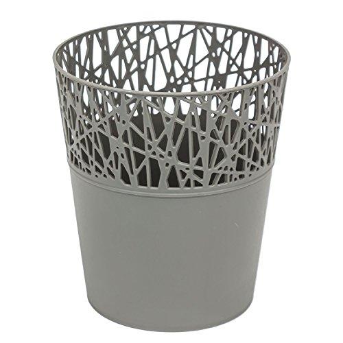 Rond cache-pot 18 cm CITY en plastique romantique style en gris
