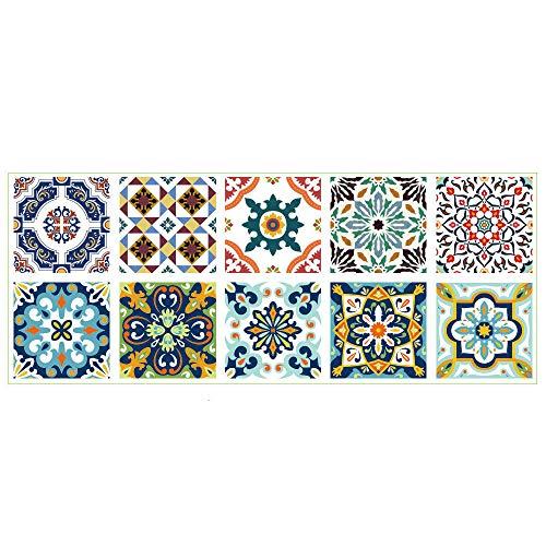Bestine Mosaikfliesen Folie Fliesensticker u. Fliesenaufkleber I Klebefolie Fliesen Aufkleber Folie Sticker für Küche u. Bad-Fliesen Wanddeko (10 Stück)