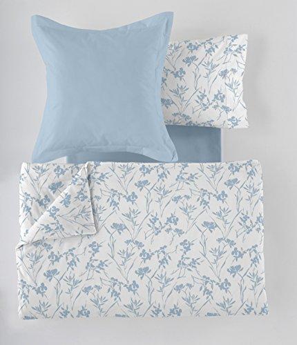ES-Tela - Juego de Funda nórdica Estampada Paola (5 Piezas) - Color Azul - Cama de 135/140 cm. Incluye Funda(s) de cojín - 50% Algodón / 50% Poliéster - 144 Hilos