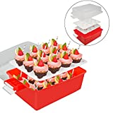 Cupcake Carrier - Holds 24 Large Cupcakes or Muffins - 2 Layer, Easy to Transport, Snap-on-Lid Baked Goods Caddy Container