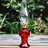 Lámpara De Aceite Antigua, Lámpara De Queroseno De Vidrio con Mecha para Luz De Emergencia Glass Home Office Comedor Mesa Decoración HSGAV,Rojo
