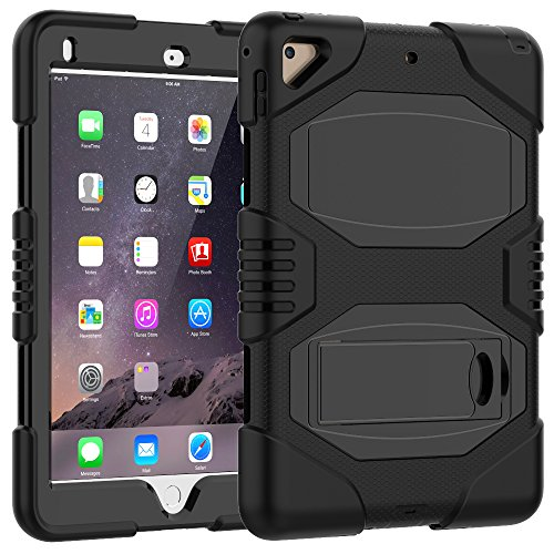 iPad Case 9.7 Inch 2018/2017,iPad Air 2 Case,Slim Heavy Duty Shockproof Rugged Case Hard PC+Silicone Hybrid High Impact Full Body Protective Case for Apple iPad 9.7' 2018/2017,Black