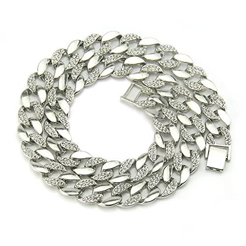 KONZFY Collar Collar de Oro con Diamantes para Hombre, Collar de Cadena Grande