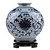 Peaceip Cermica Antigua Azul y Blanco Jarrn de Porcelana Decoracin Sala de Estar Nuevo Chino Retro Grieta Esmalte Oficial Jarrn de Horno