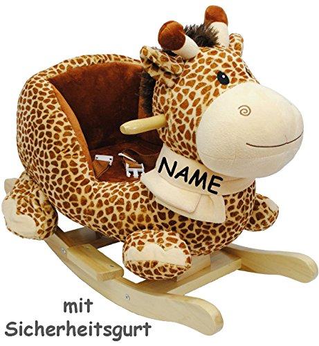 alles-meine.de GmbH XL Plüsch und Holz Schaukelpferd -  Giraffe  - incl. Name - mit Einstiegshilfe und Sicherheitsgurt - Schaukelgiraffe mit Gurt - Schaukeltier mit Plüschbezug..