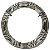 20 M de acero inoxidable - de alambre cuerda de 7 x 7 D=2 mm medio suave, PVC revestido, transparencia - acero inoxidable A4 cable de acero