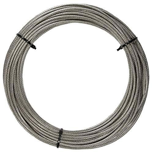 20 Meter Edelstahl - Drahtseil 7x7 D= 1,5 mm mittelweich, mit transaprente PVC Ummantelung - Edelstahl A4 Stahlseil I BOOTSTEILE BRAUER®