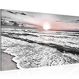 Bild Sonnenuntergang Strand Modern Wandbilder - 100% Made In Germany - Landschaft Grau Rosa Flur 023714b