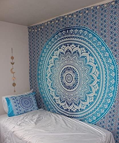 THE ART BOX Tapiz Tapiz de Pared Azul Tapices de Pared Mandala Tapices de Pared Algodón Indio Colcha Doble Sábana de Picnic Decoración de la Pared Manta Arte de la Pared Hippie Tapiz Indio