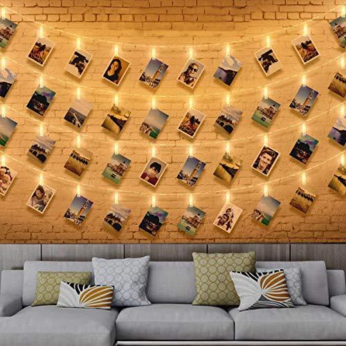 Zorara Foto Lichterkette, 6 M 40 Leds Lichterkette Fotos, Lichterkette Innen Batteriebetrieben, Lichterkette Clip Warmweiß Für HängendeBilder, Innen, Haus, Weihnachten, Hochzeit, Schlafzimmer