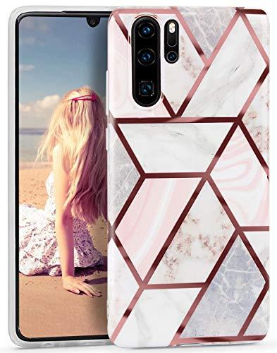 Imikoko Hülle für Huawei P30 Pro Glitter Bling Rosegold Handyhülle Handycase TPU Silikon Weiche Schlank Schutzhülle Handytasche Flexibel Case Handy Hülle