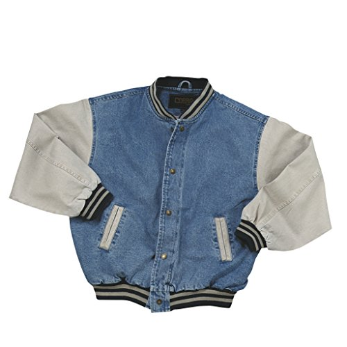 Cotton-Washed Vintage Denim Varsity Jacket with Khaki Sleeves (XX Large)