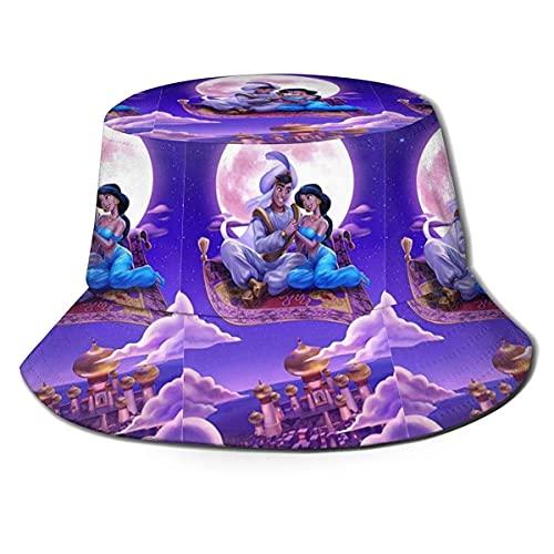Yaxinduobao Sombrero de Cubo Lámpara de Aladino Impreso Packable Summer Outdoor Cap Sun Fishing Boonie Sombreros Negro