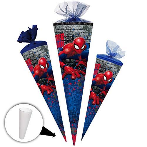 alles-meine.de GmbH Schultüte -  Spider-Man / Spiderman  - 35 cm - rund - mit Tüllabschluß - Zuckertüte - mit / ohne Kunststoff Spitze - Nestler - Jungen - Ultimate Amazing - A..