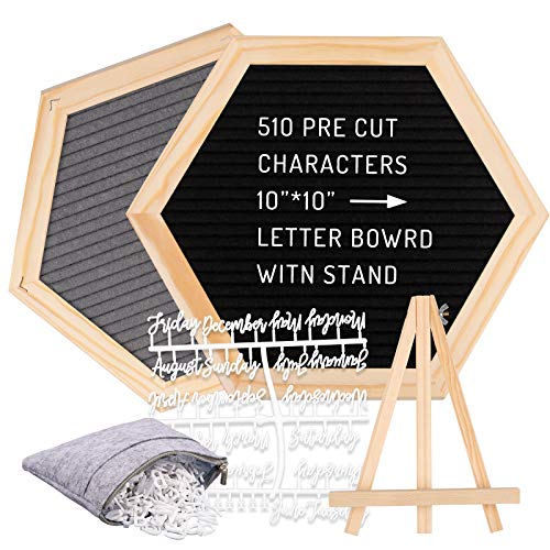 Whaline Double Sided Felt Letter Board Kit with 510 Letters Month Wooden Stand Felt Bag Felt Letter Board Hexagon Felt Letter Board for Home Baby Nursery School Classroom Teaching Tool Office