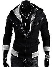 KMAZN パーカー メンズ ジップアップ ライダースジャケット フード フェイクレイヤード ダブルジップ 二層ファスナー ブルゾン 無地 アウタートップス長袖