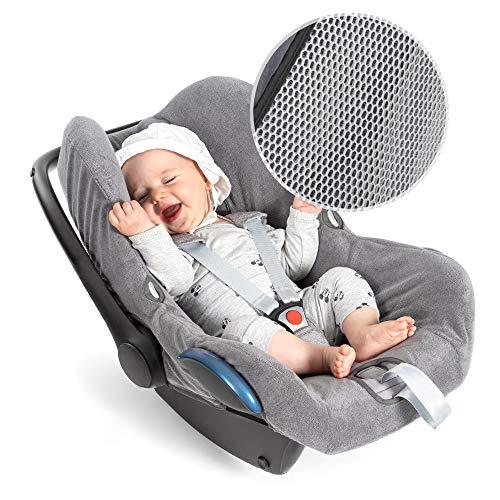 Zamboo Bezug für Maxi Cosi Cabriofix Babyschale - Sommerbezug mit perfekter Passform für Autositz Cabrio-Fix, atmungsaktiv gegen Schwitzen, maschinenwaschbar - Grau (Cool & Dry)