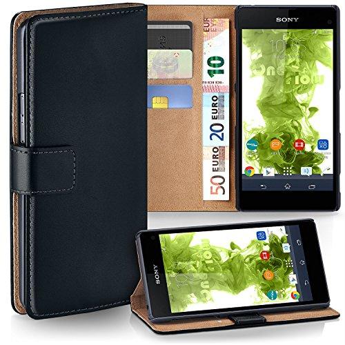 MoEx Premium Book-Hülle Handytasche kompatibel mit Sony Xperia Z1 Compact | Handyhülle mit Kartenfach & Ständer - 360 Grad Schutz Handy Tasche, Schwarz