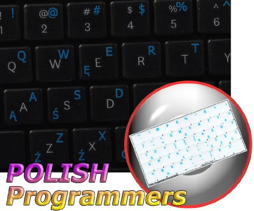 POLISH PROGRAMMER KEYBOARD STICKERS ON TRANSPARENT BACKGROUND WITH BLUE LETTERING (14X14)