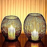 Juego de 2 candelabros ovalados, candelabros, candelabros de Metal, decoración para el salón, mesas de salón, candelabros, Creativa Vintage, Soporte Decorativo de Metal Negro (Forma Redonda)