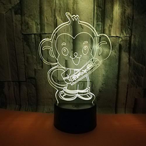 3D Veilleuse Enfant LED Lampe de Chevet Optiques Illusions Lampe de Nuit 7 Couleurs Ajustables Câble USB Cadeau Jouets (Singe),Interrupteur Tactile