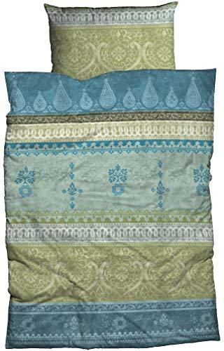 sister s. Fein-Biber Bettwäsche Indi 240 cm x 220 cm blau-salbeigrün