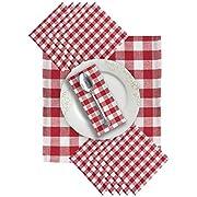 GLAMBURG Cloth Napkin 12-Pack 100% Cotton Dinner Napkin 20x20 Gingham Plaid Check - Easy to Clean - Red