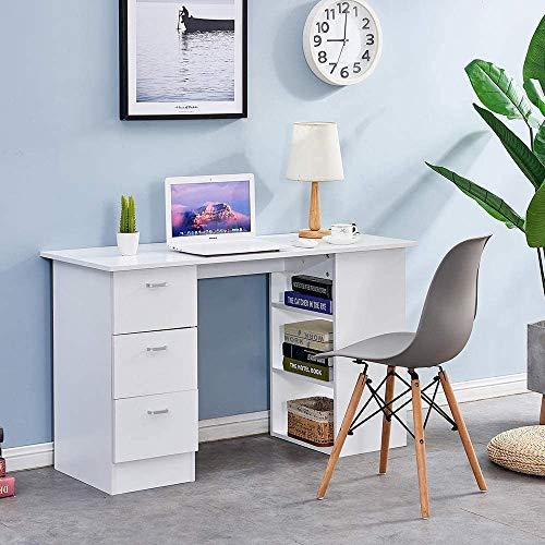 Blanco con tres cajones y estante de almacenamiento de escritorio de la computadora,White